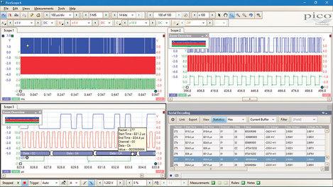Kit oscilloscope différentiel  USB PicoScope 4444 4 voies 20  MHz + 3 sondes différentielles  + adaptateur PQ073