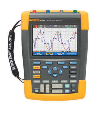 Analyseur de variateurs de  vitesse 4 voies couleur, avec  arbre moteur et harmoniques  MDA550