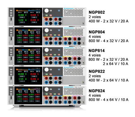 Alimentations  2 ou 4 voies jusqu'à 64 V ou 20 A par voie, puissance 200 W par voie  NGP800